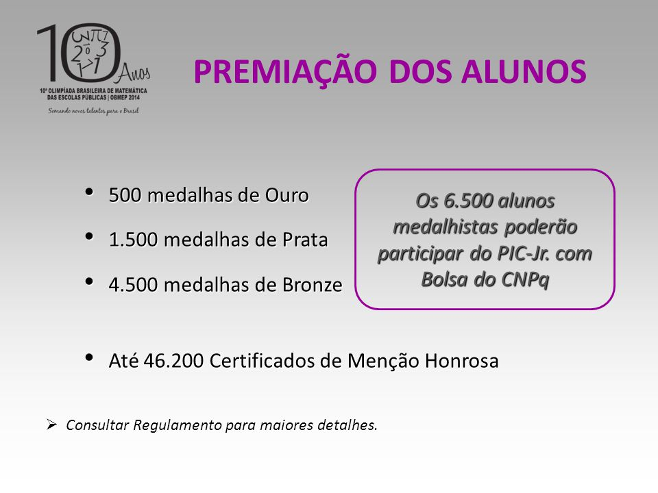 PREMIAÇÃO DOS ALUNOS 500 medalhas de Ouro