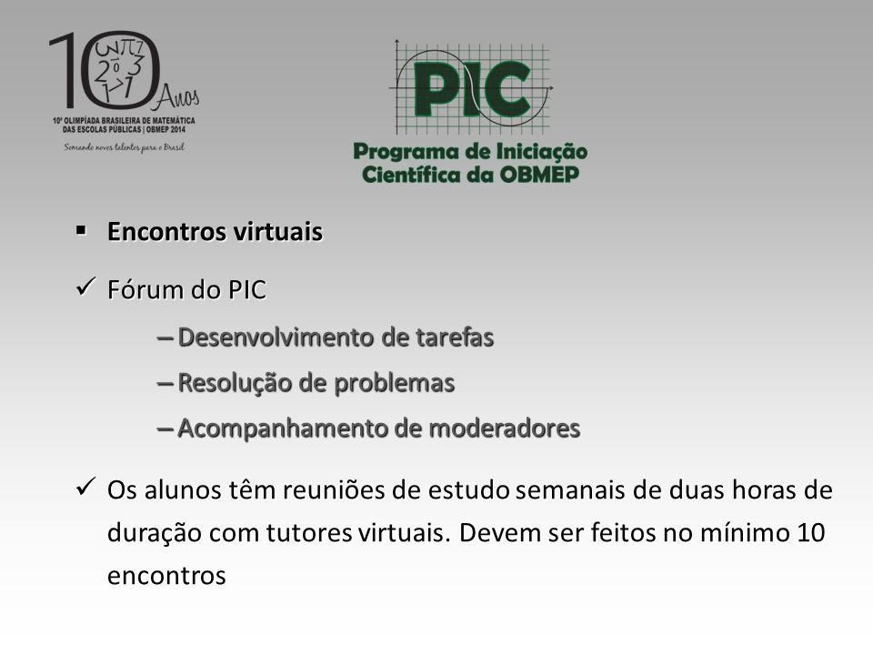 Encontros virtuais Fórum do PIC