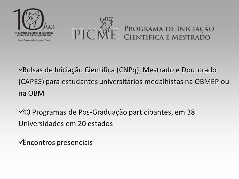 Bolsas de Iniciação Científica (CNPq), Mestrado e Doutorado (CAPES) para estudantes universitários medalhistas na OBMEP ou na OBM