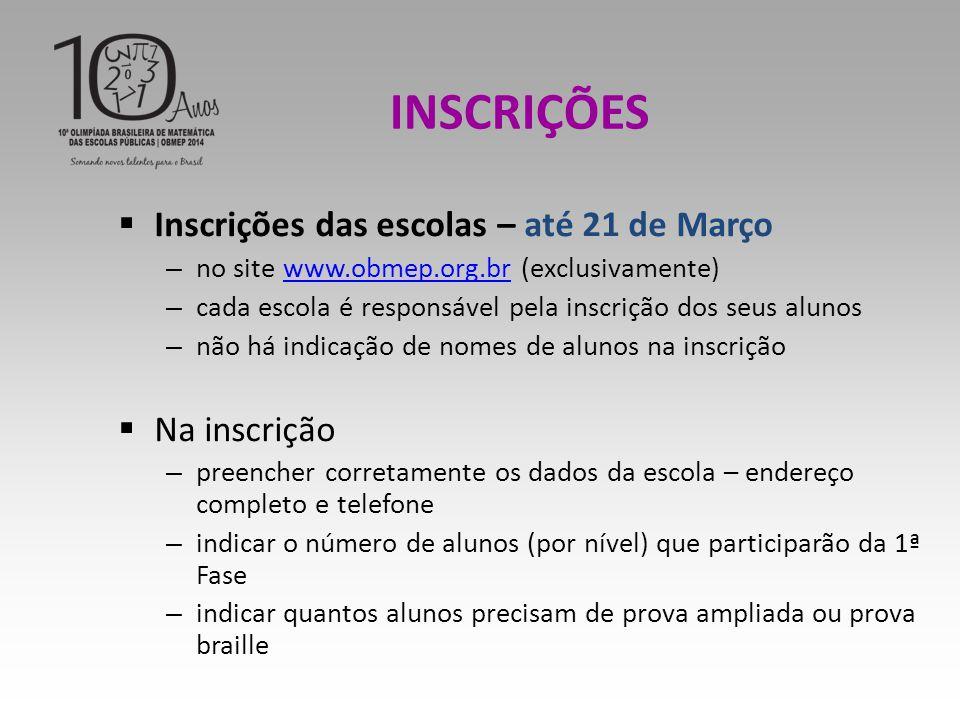 INSCRIÇÕES Inscrições das escolas – até 21 de Março Na inscrição