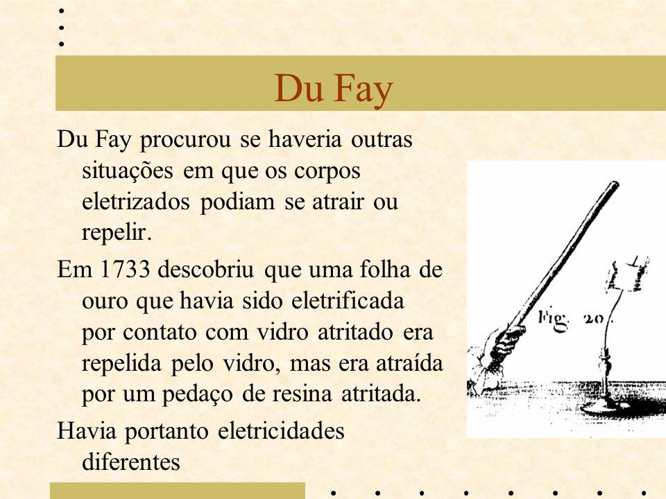 Du Fay Du Fay procurou se haveria outras situações em que os corpos eletrizados podiam se atrair ou repelir.