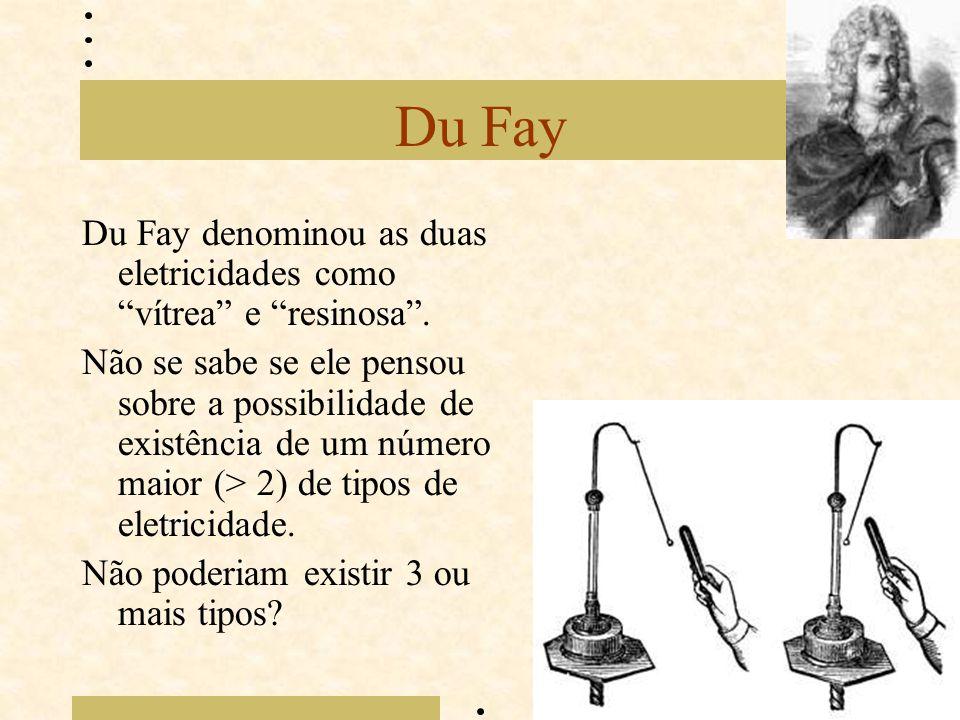 Du Fay Du Fay denominou as duas eletricidades como vítrea e resinosa .