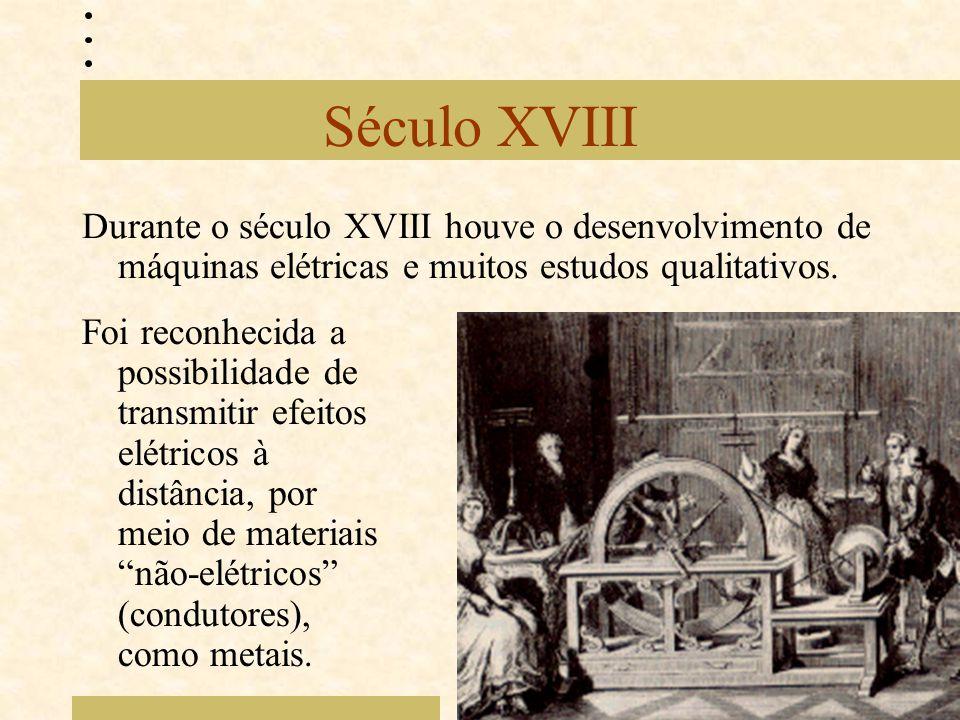Século XVIII Durante o século XVIII houve o desenvolvimento de máquinas elétricas e muitos estudos qualitativos.
