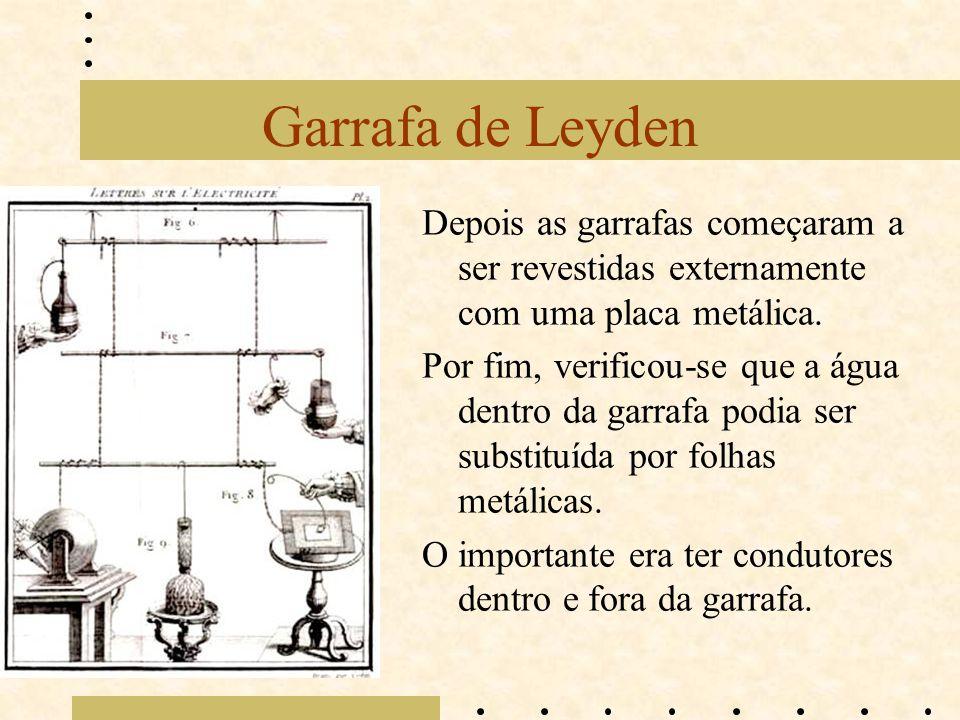 Garrafa de Leyden Depois as garrafas começaram a ser revestidas externamente com uma placa metálica.
