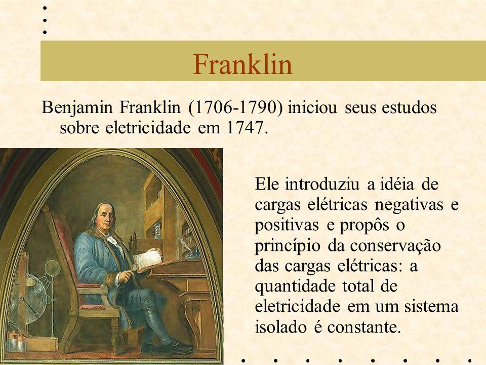 Franklin Benjamin Franklin (1706-1790) iniciou seus estudos sobre eletricidade em 1747.