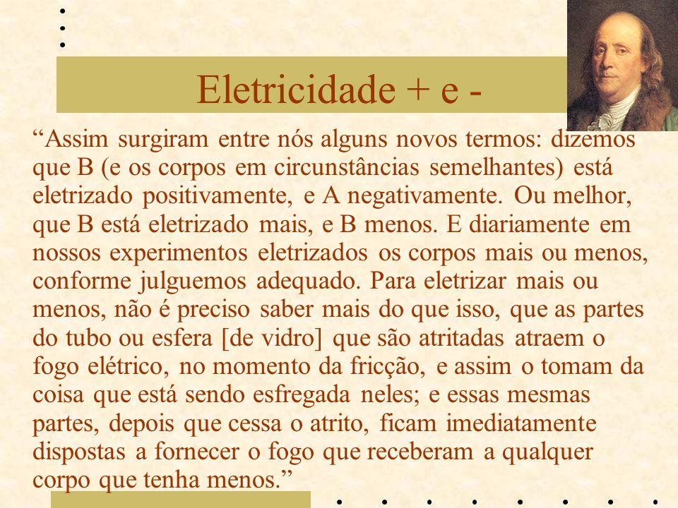 Eletricidade + e -