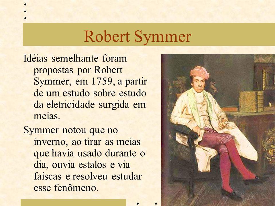 Robert Symmer Idéias semelhante foram propostas por Robert Symmer, em 1759, a partir de um estudo sobre estudo da eletricidade surgida em meias.