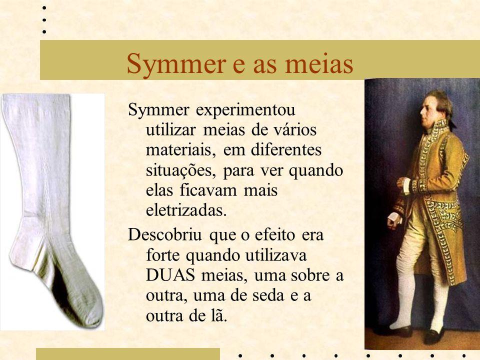 Symmer e as meias Symmer experimentou utilizar meias de vários materiais, em diferentes situações, para ver quando elas ficavam mais eletrizadas.