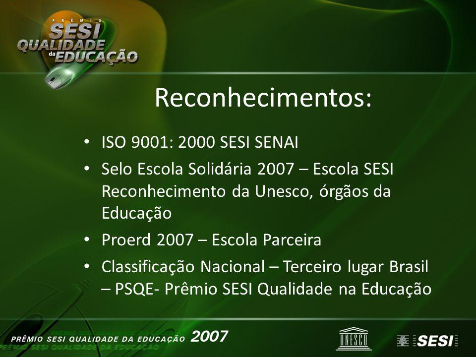 Reconhecimentos: Reconhecimentos: ISO 9001: 2000 SESI SENAI