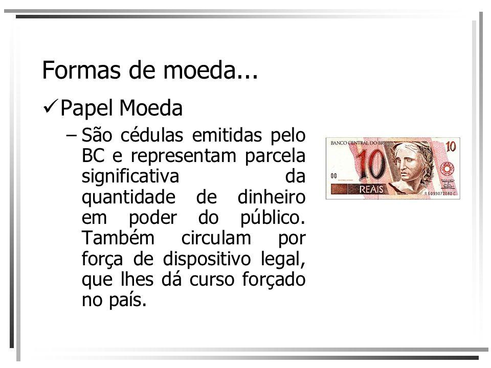 Formas de moeda... Papel Moeda