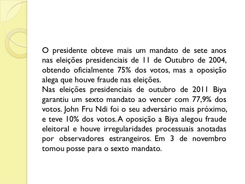 O presidente obteve mais um mandato de sete anos nas eleições presidenciais de 11 de Outubro de 2004, obtendo oficialmente 75% dos votos, mas a oposição alega que houve fraude nas eleições.
