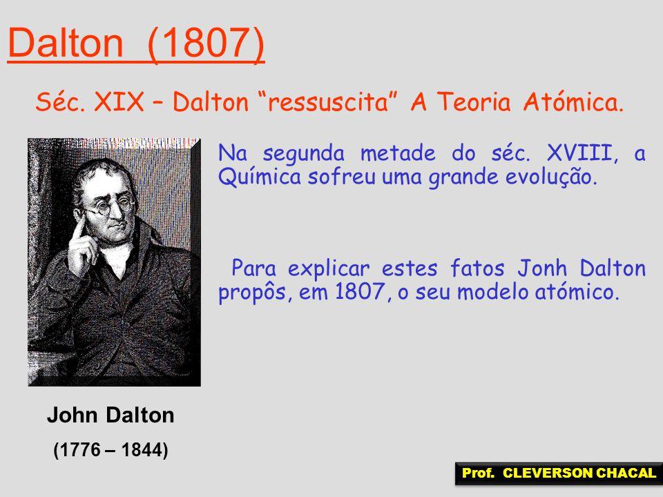 Dalton (1807) Séc. XIX – Dalton ressuscita A Teoria Atómica.