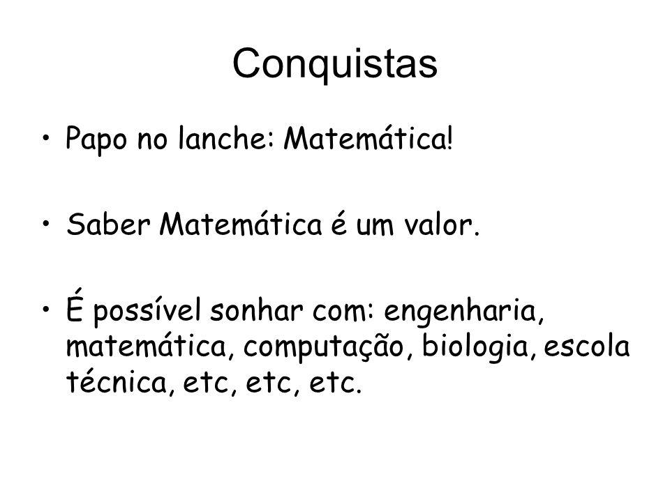 Conquistas Papo no lanche: Matemática! Saber Matemática é um valor.