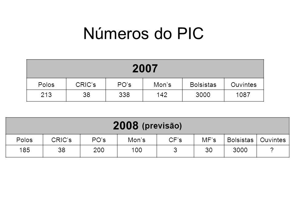 Números do PIC 2007 2008 (previsão) Polos CRIC's PO's Mon's Bolsistas