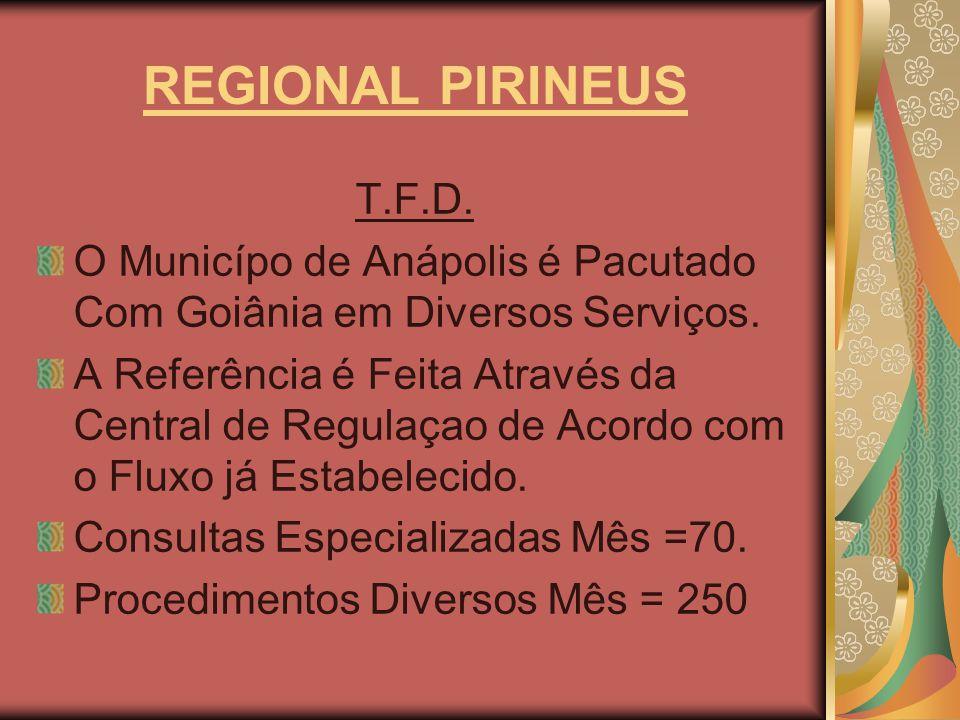 REGIONAL PIRINEUS T.F.D. O Municípo de Anápolis é Pacutado Com Goiânia em Diversos Serviços.
