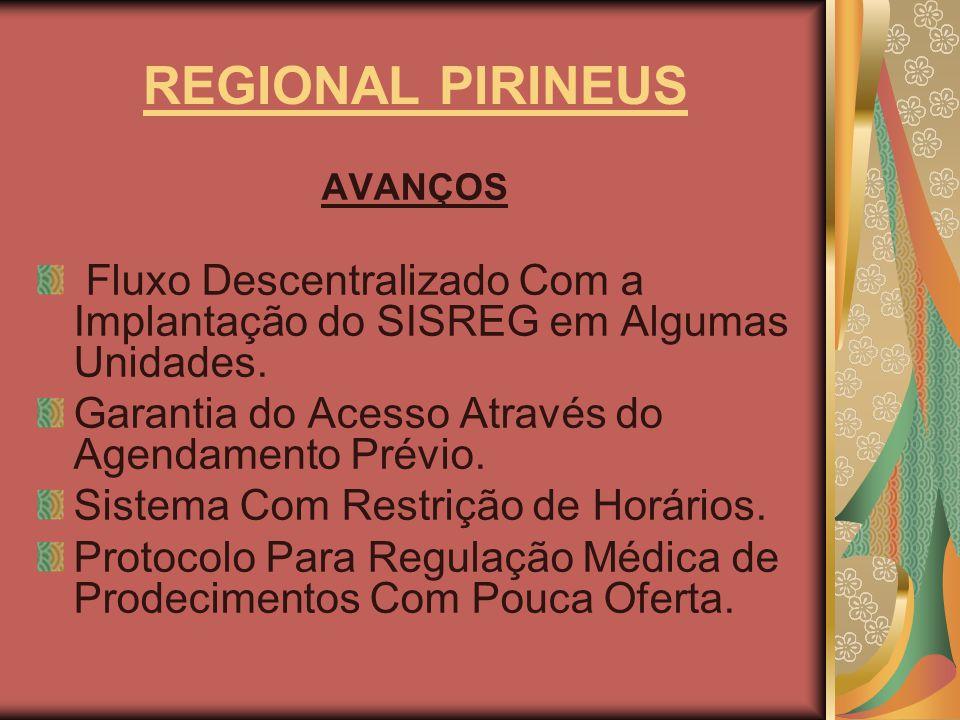 REGIONAL PIRINEUS AVANÇOS. Fluxo Descentralizado Com a Implantação do SISREG em Algumas Unidades. Garantia do Acesso Através do Agendamento Prévio.