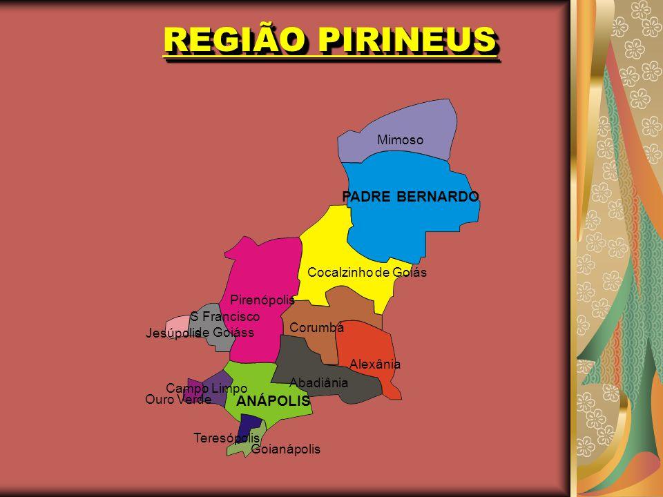 REGIÃO PIRINEUS PADRE BERNARDO ANÁPOLIS Mimoso Cocalzinho de Goiás