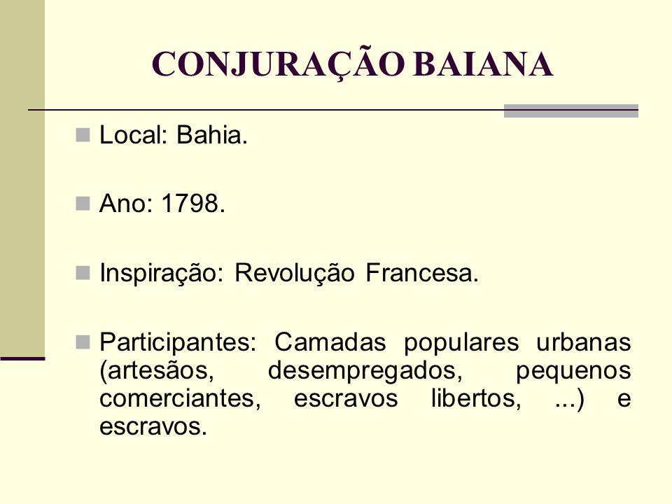 CONJURAÇÃO BAIANA Local: Bahia. Ano: 1798.