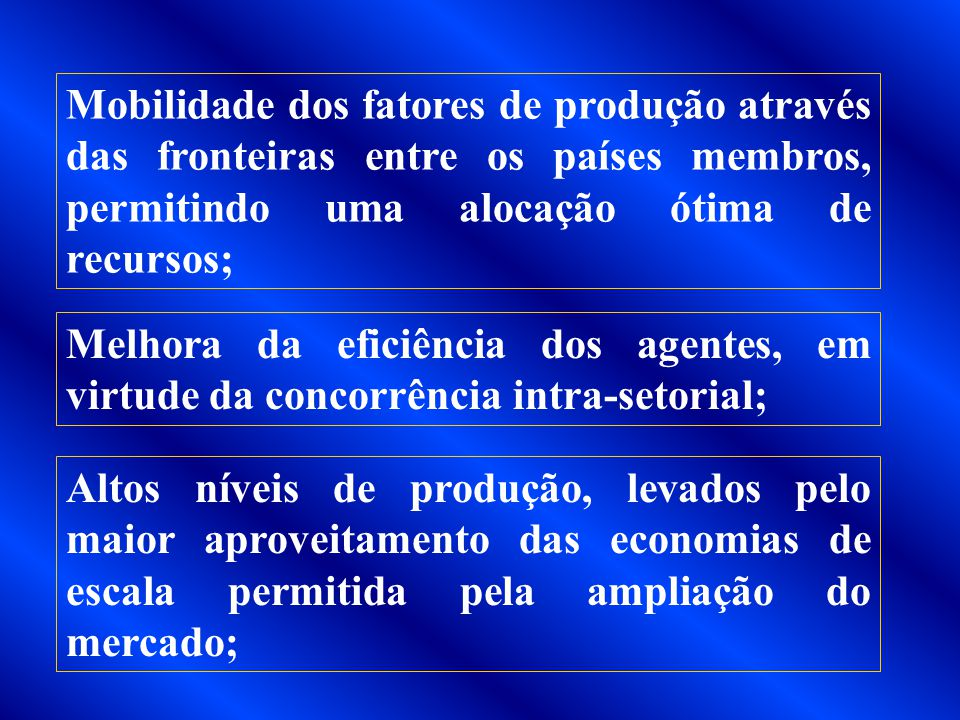 Mobilidade dos fatores de produção através das fronteiras entre os países membros, permitindo uma alocação ótima de recursos;