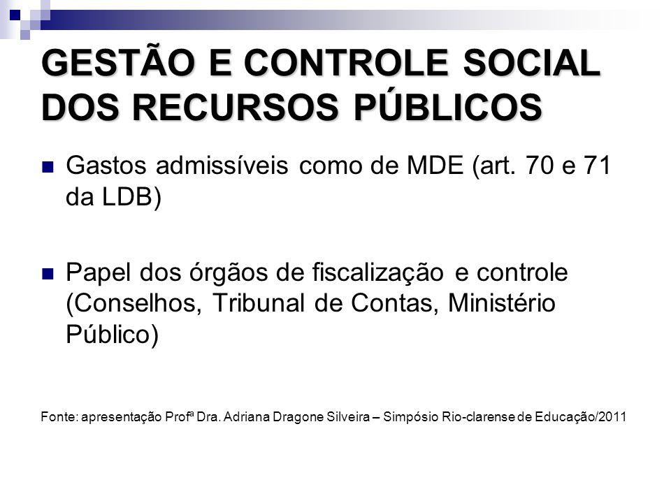 GESTÃO E CONTROLE SOCIAL DOS RECURSOS PÚBLICOS