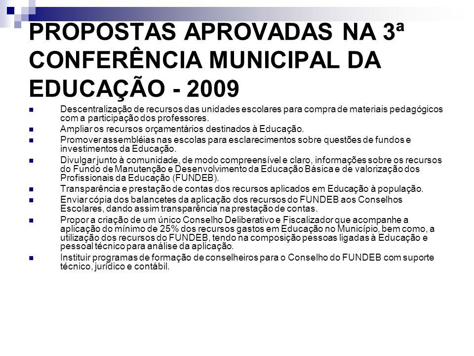 PROPOSTAS APROVADAS NA 3ª CONFERÊNCIA MUNICIPAL DA EDUCAÇÃO - 2009