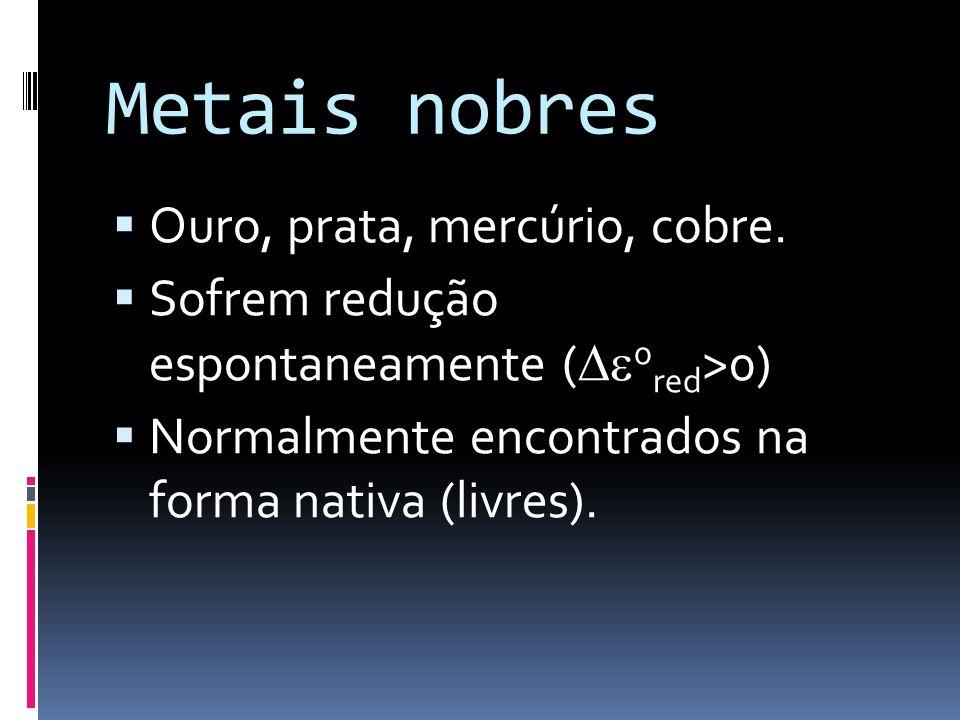 Metais nobres Ouro, prata, mercúrio, cobre.