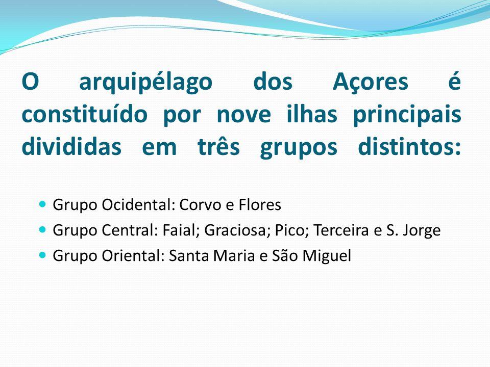 O arquipélago dos Açores é constituído por nove ilhas principais divididas em três grupos distintos: