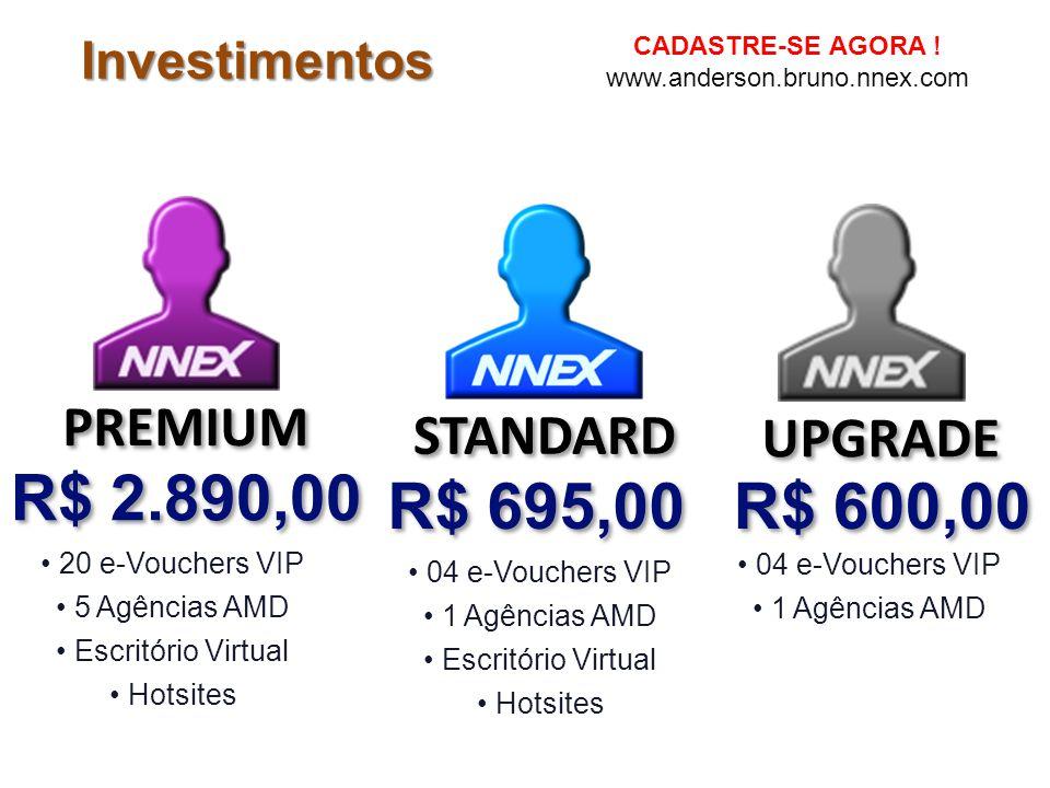 R$ 2.890,00 R$ 695,00 R$ 600,00 PREMIUM STANDARD UPGRADE Investimentos