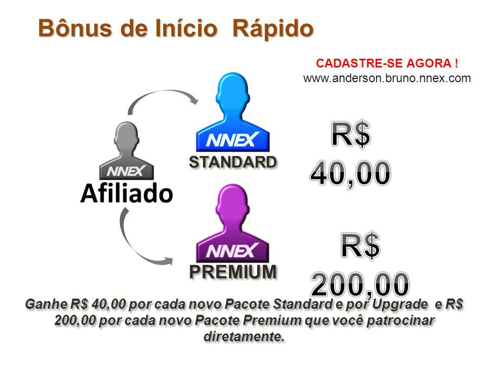 R$ 40,00 R$ 200,00 Bônus de Início Rápido PREMIUM STANDARD