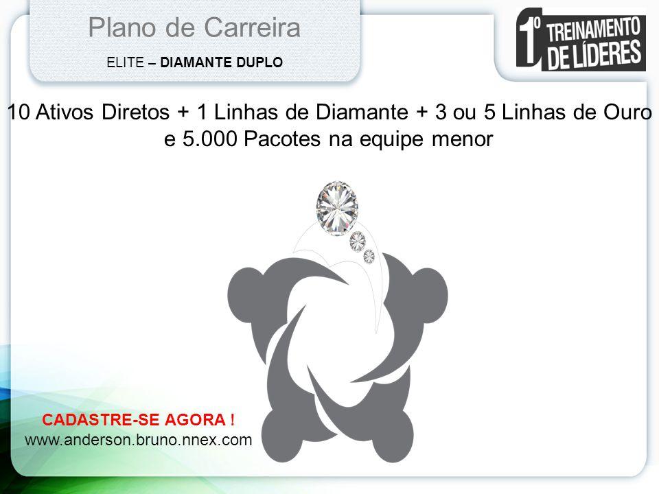 Plano de Carreira ELITE – DIAMANTE DUPLO. 10 Ativos Diretos + 1 Linhas de Diamante + 3 ou 5 Linhas de Ouro.