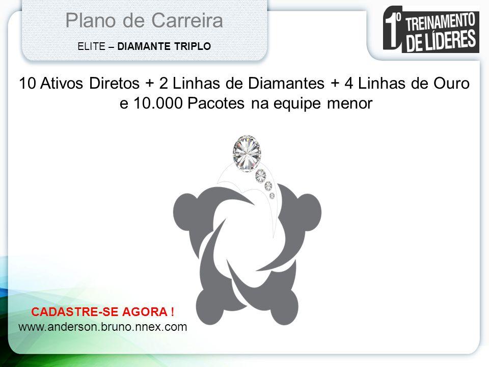 Plano de Carreira ELITE – DIAMANTE TRIPLO. 10 Ativos Diretos + 2 Linhas de Diamantes + 4 Linhas de Ouro.