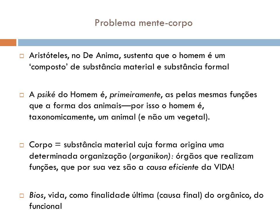 Problema mente-corpo Aristóteles, no De Anima, sustenta que o homem é um 'composto' de substância material e substância formal.