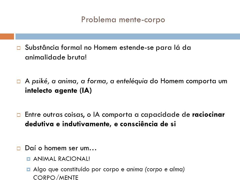 Problema mente-corpo Substância formal no Homem estende-se para lá da animalidade bruta!