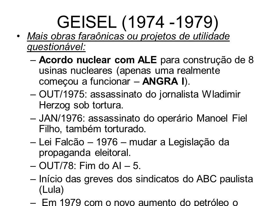 GEISEL (1974 -1979) Mais obras faraônicas ou projetos de utilidade questionável: