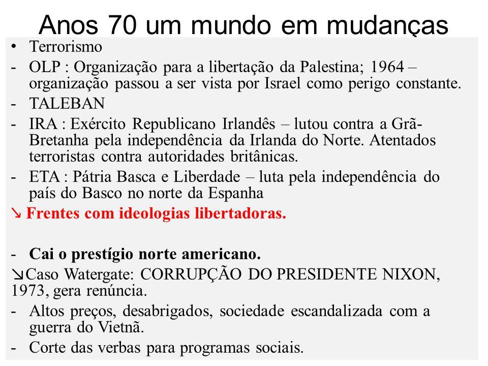 Anos 70 um mundo em mudanças