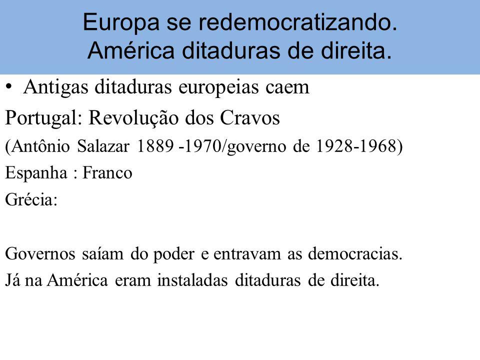 Europa se redemocratizando. América ditaduras de direita.