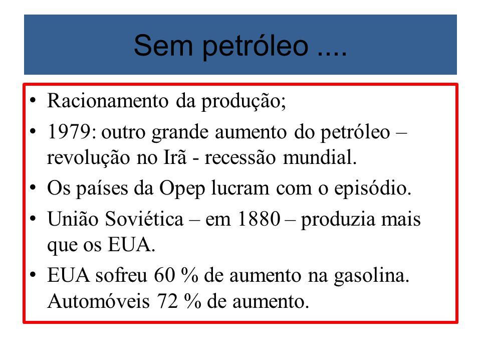 Sem petróleo .... Racionamento da produção;
