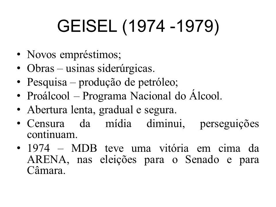 GEISEL (1974 -1979) Novos empréstimos; Obras – usinas siderúrgicas.