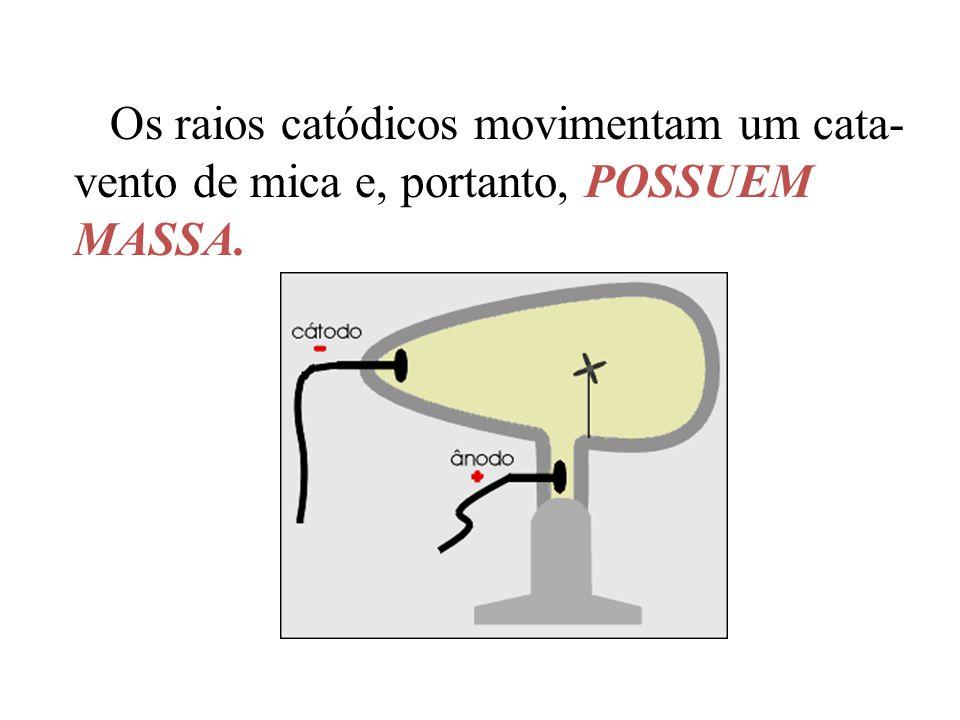 Os raios catódicos movimentam um cata-vento de mica e, portanto, POSSUEM MASSA.