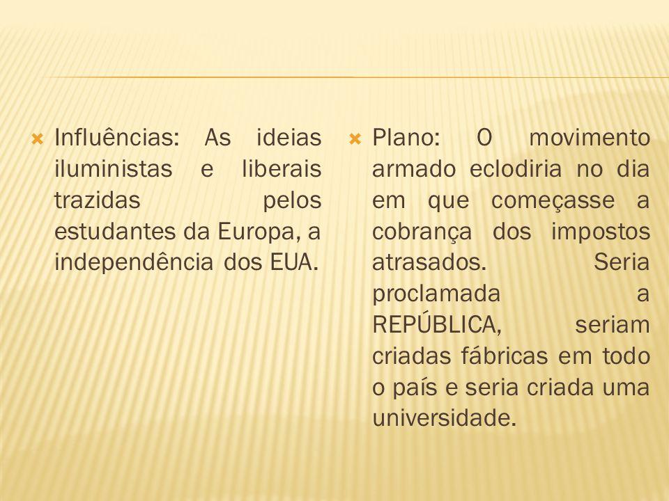 Influências: As ideias iluministas e liberais trazidas pelos estudantes da Europa, a independência dos EUA.
