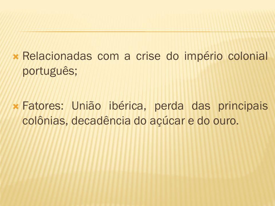 Relacionadas com a crise do império colonial português;