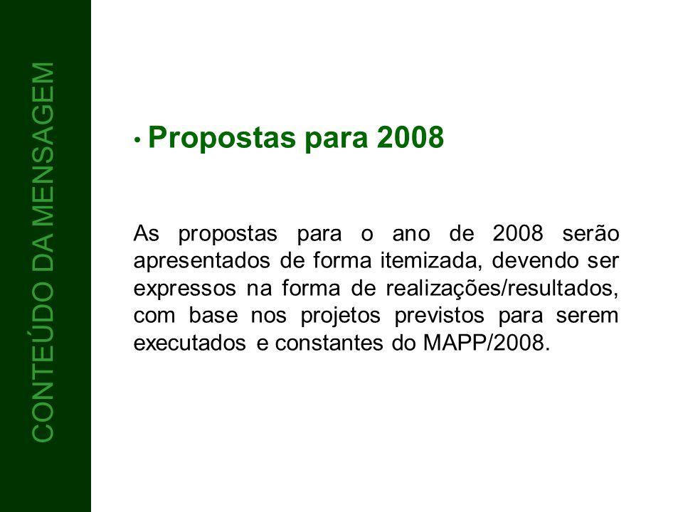 CONTEÚDO 5 CONTEÚDO DA MENSAGEM Propostas para 2008