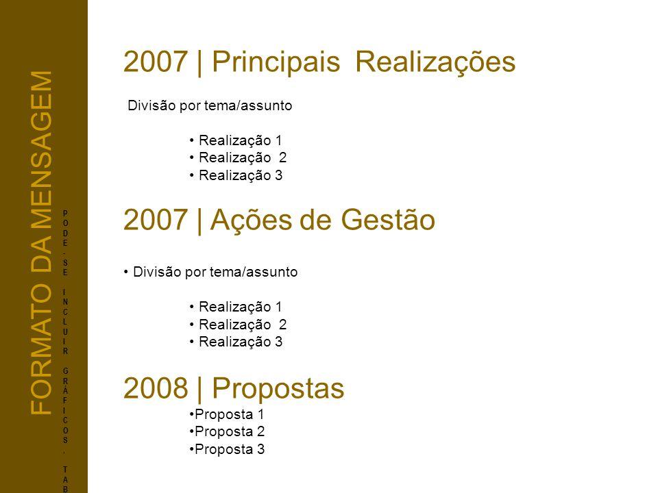 2007 | Principais Realizações