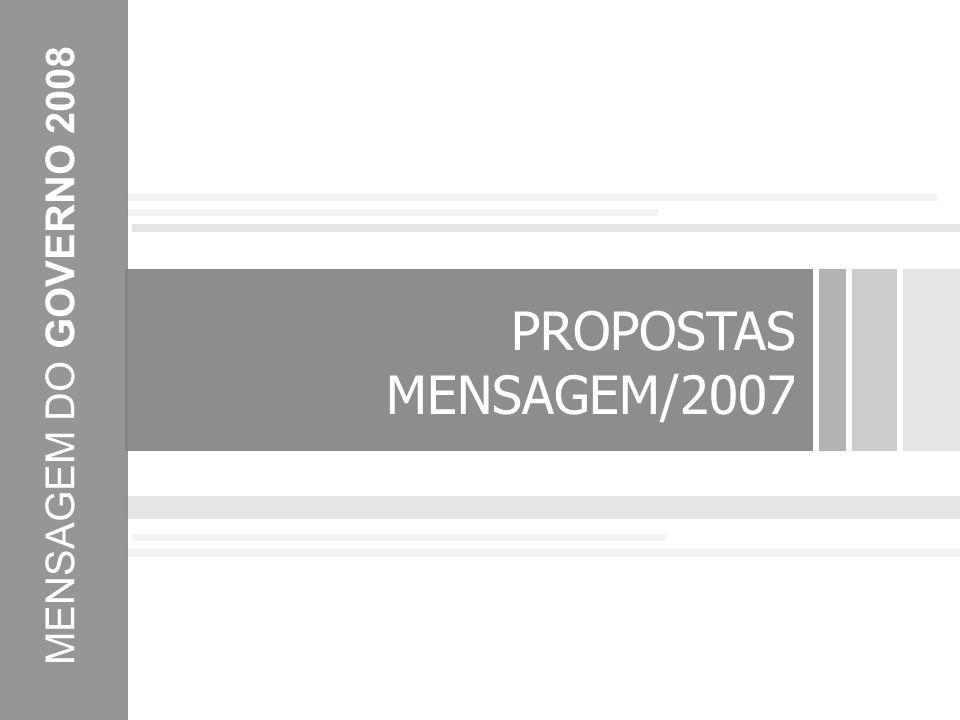 PROPOSTAS MENSAGEM/2007 MENSAGEM DO GOVERNO 2008