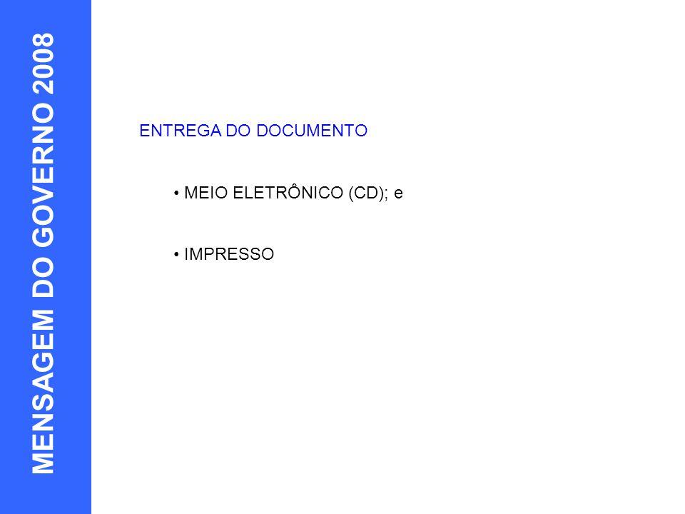 10 MENSAGEM DO GOVERNO 2008 EXEMPLOS ENTREGA DO DOCUMENTO