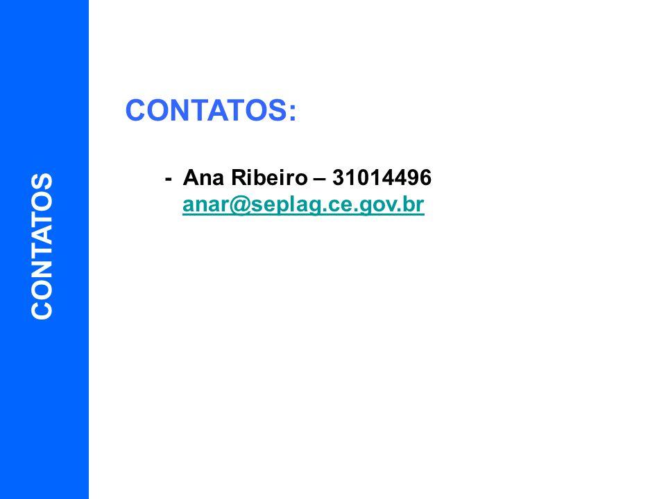 CONTATOS: - Ana Ribeiro – 31014496 anar@seplag.ce.gov.br CONTATOS 10