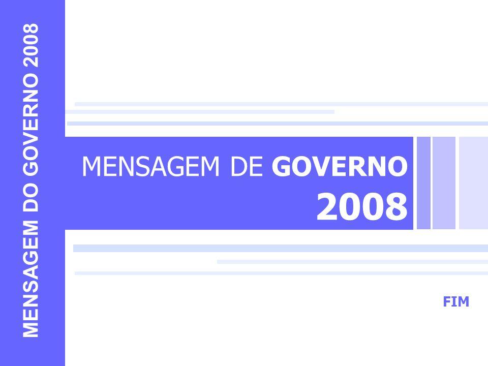 MENSAGEM DE GOVERNO 2008 MENSAGEM DO GOVERNO 2008 FIM FIM