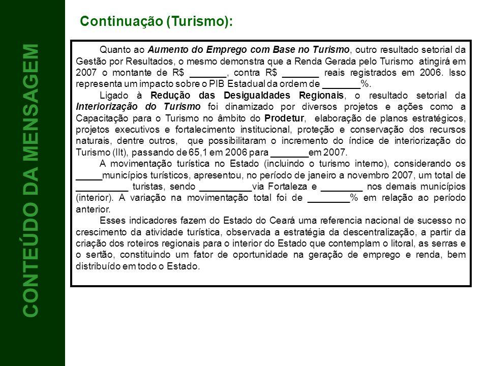 CONTEÚDO 3 CONTEÚDO DA MENSAGEM Continuação (Turismo):