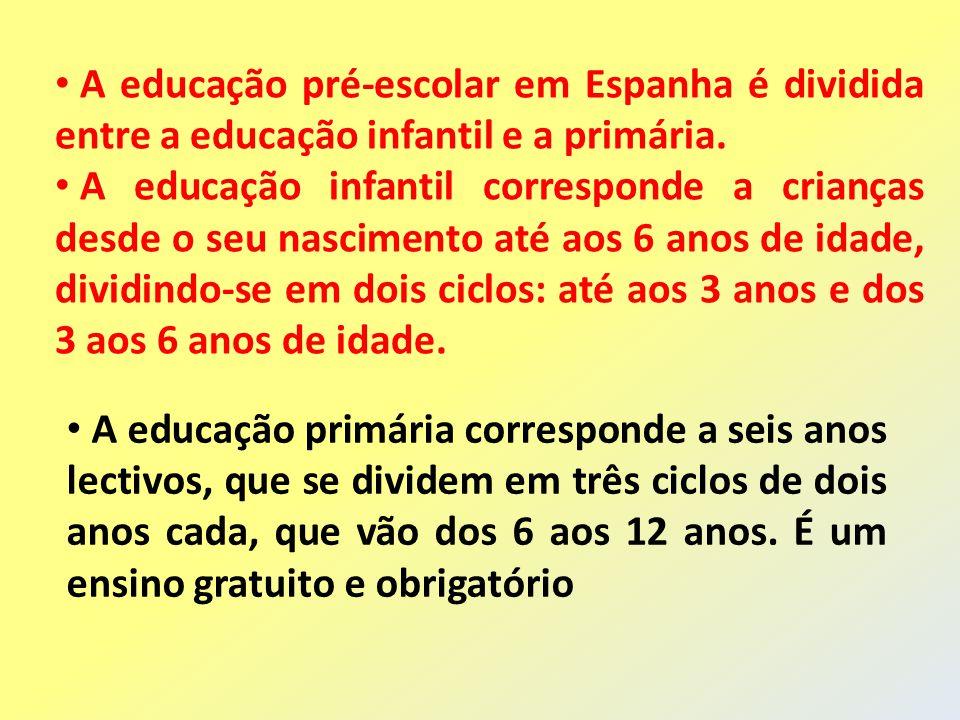 A educação pré-escolar em Espanha é dividida entre a educação infantil e a primária.