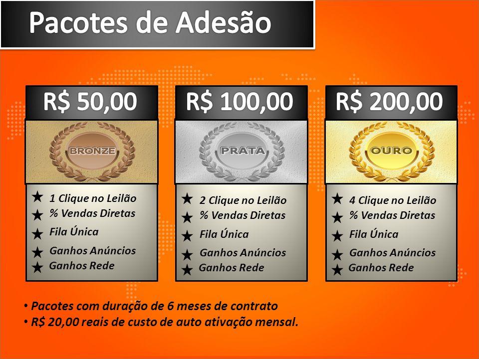 Pacotes de Adesão R$ 50,00 R$ 100,00 R$ 200,00